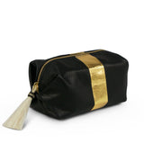 Leather Makeup Bag - Navy and Gold, with Horsehair Tassel