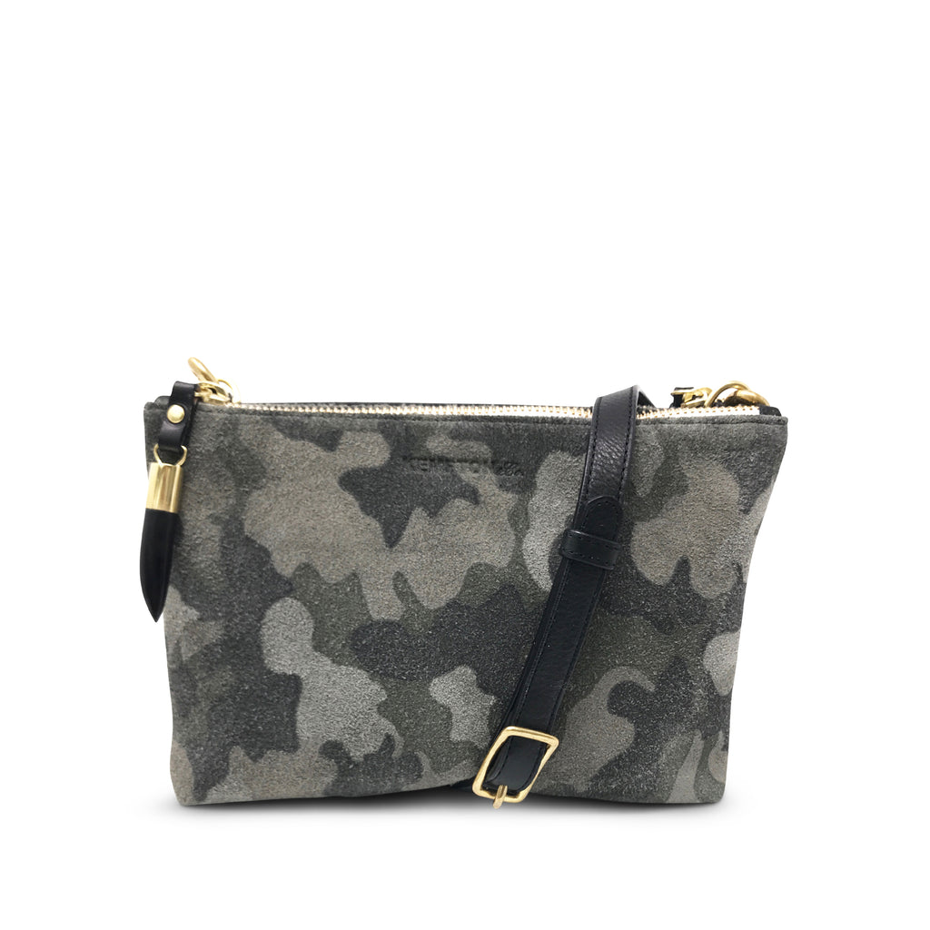 Nottingham Double Zip Crossbody - Camo Suede