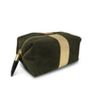 Olive Suede/Gold Stripe Cosmetic Case