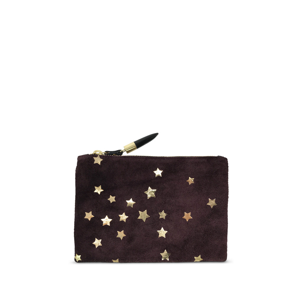 Oxblood Suede Star Small Pouch