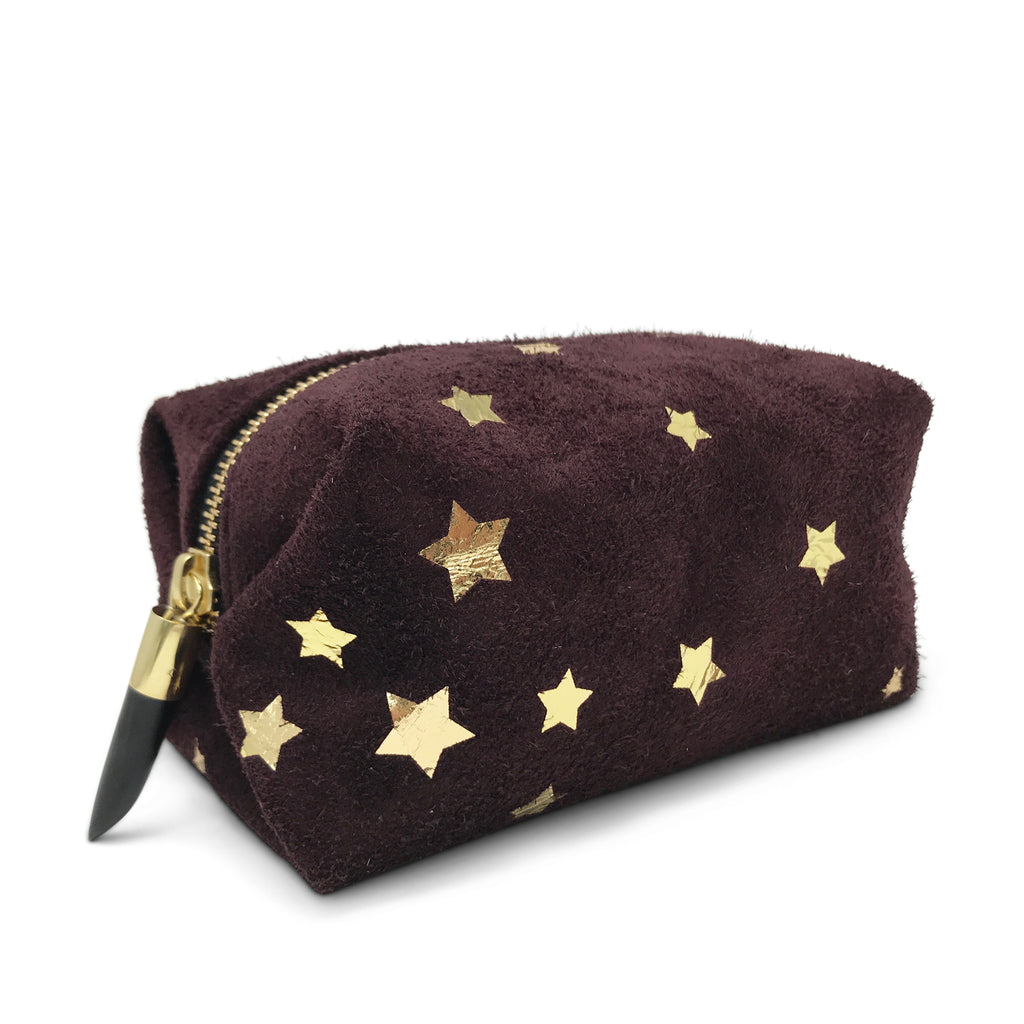 Oxblood Suede Star Cosmetic Case