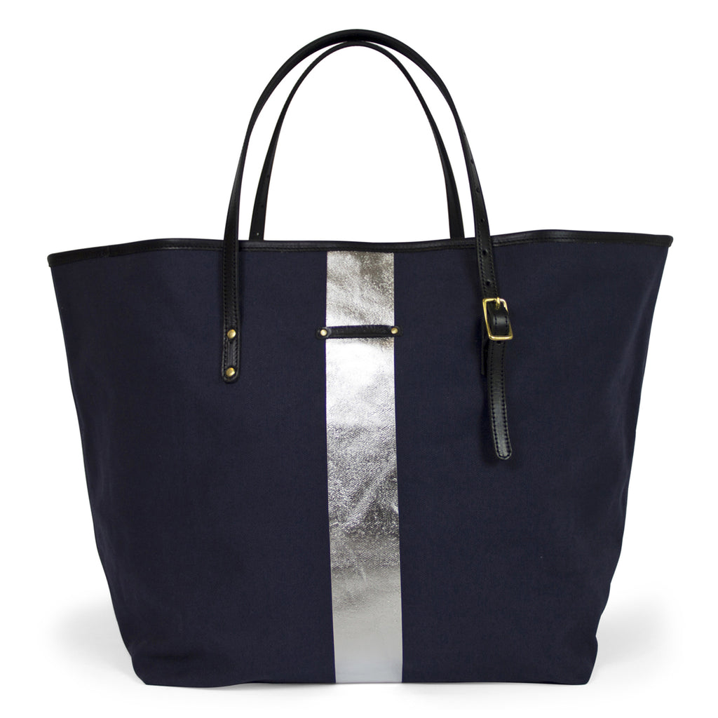 Silver Striped Beach Tote - Navy