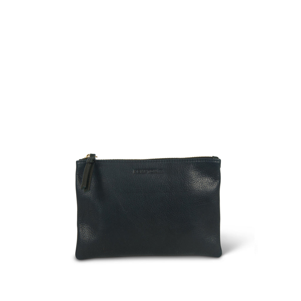 """Teddington"" Small Leather Pouch Bag - Navy"