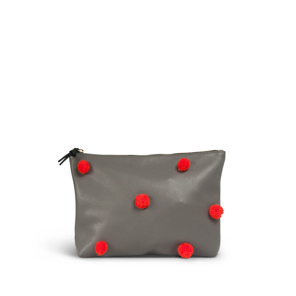 "The ""Pom Pom"" Medium Leather Clutch - Grey with Orange Poms"