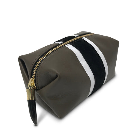 Olive Suede Gold Stripe Medium Pouch