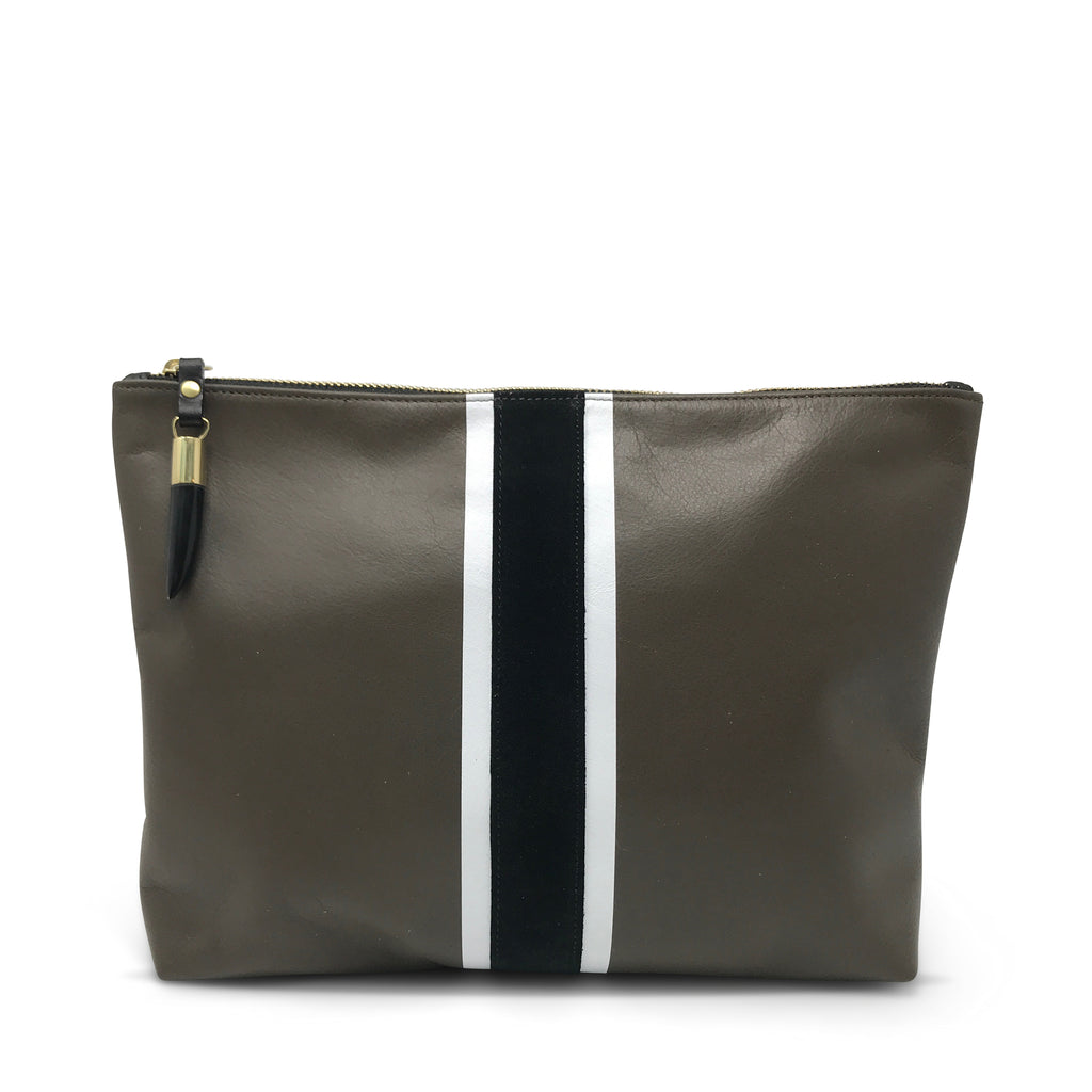 Truffle with B+W Stripe Medium Pouch