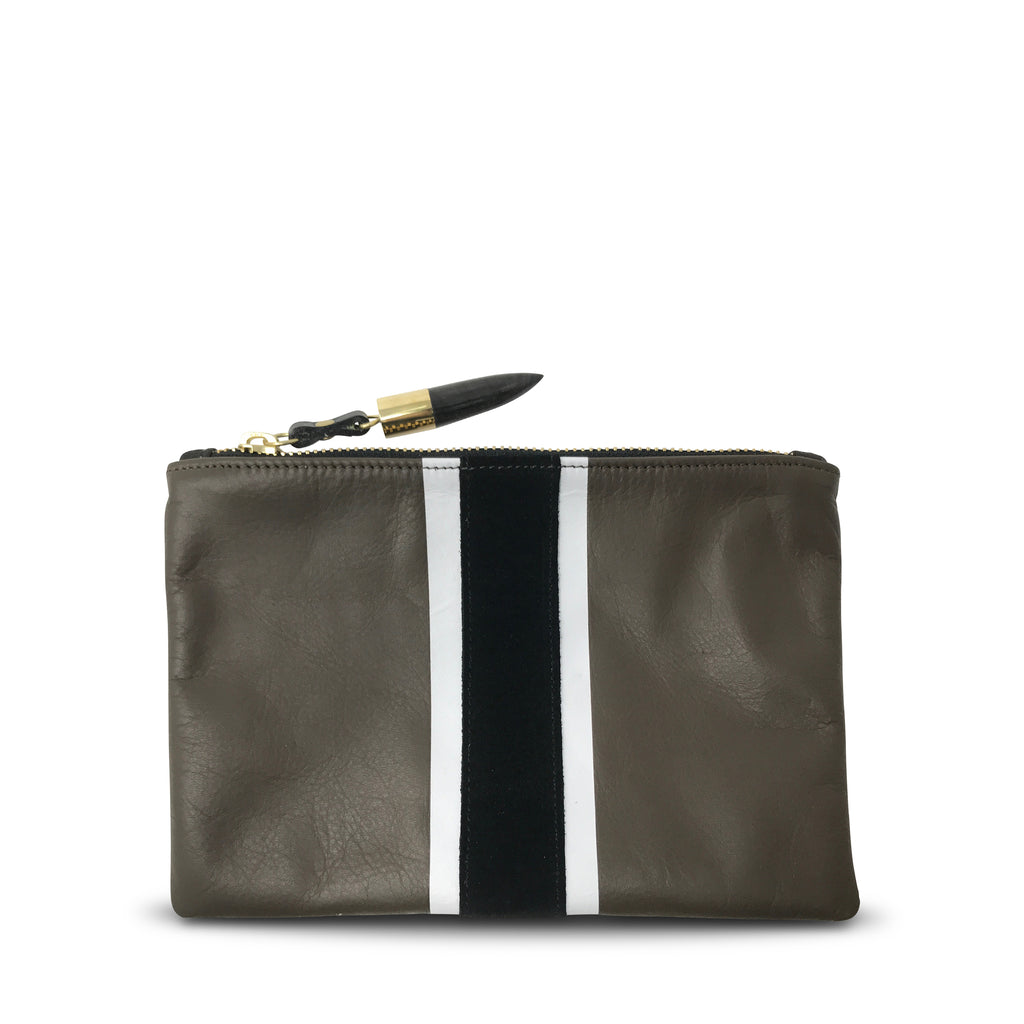 Truffle with B+W Stripe Small Pouch