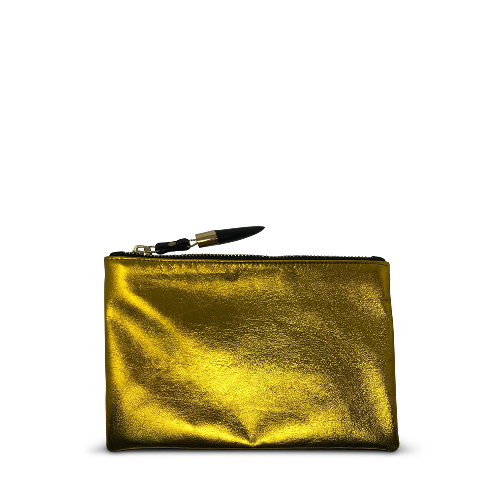 Yellow Foil Lambskin Small Pouch