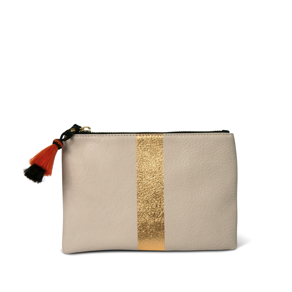 Chalk & Gold Small Leather Pouch Bag