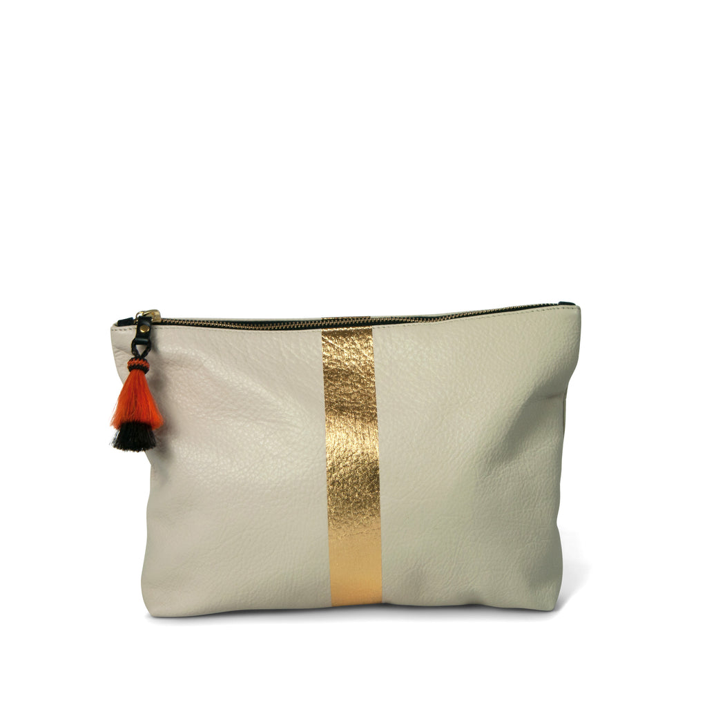 Chalk and Gold Medium Leather Tassel Clutch
