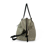Taupe Silver Star Large Canvas Crossbody