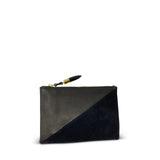 Black Petite Lizard Black Suede Small Pouch