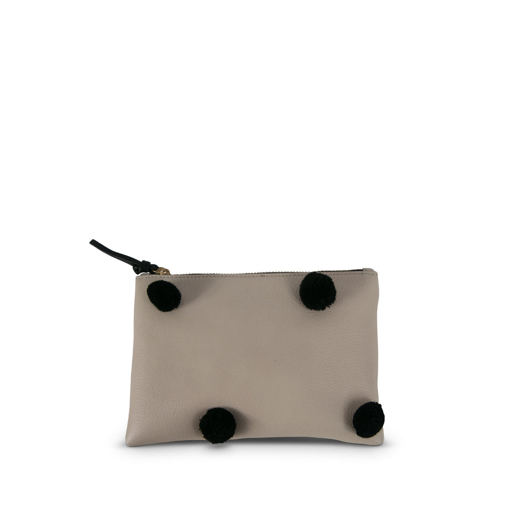 "The ""Pom Pom"" Small Leather Pouch--Chalk with Black Poms"