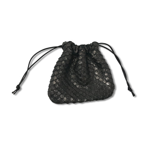Crochet hat with black leather tie