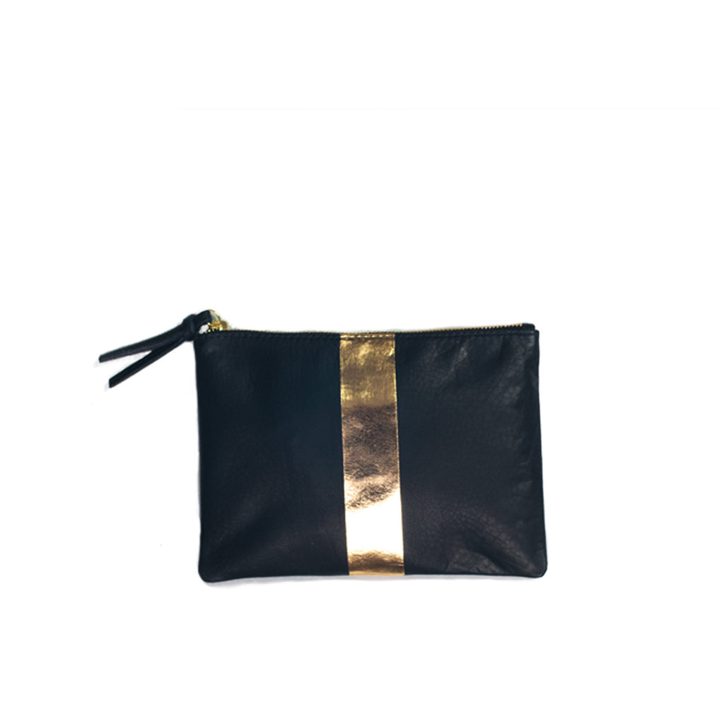 Navy and Gold Small Leather Pouch Bag