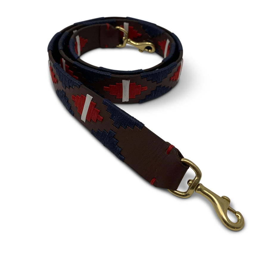NAVY, WHITE AND RED POLO WRAP STRAP