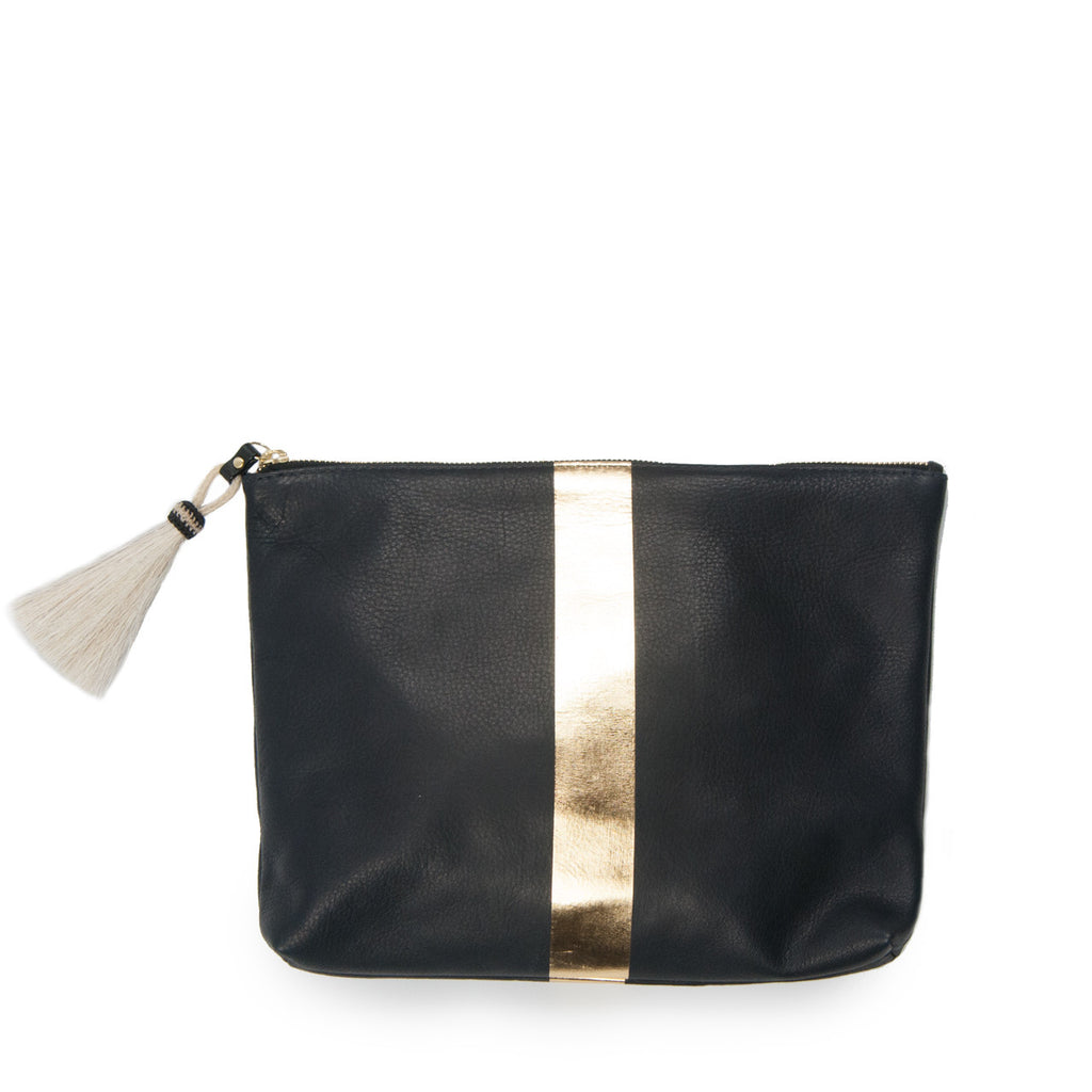 Medium Leather Clutch - Navy & Gold