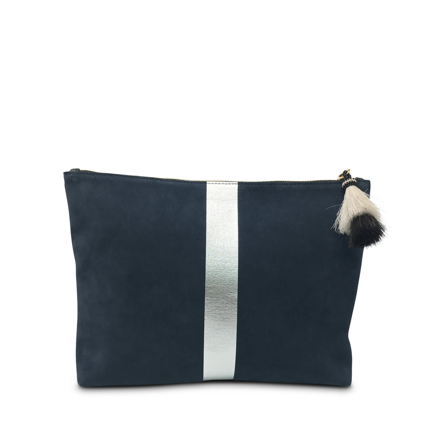 Navy/Silver Striped Suede & Leather Medium Pouch