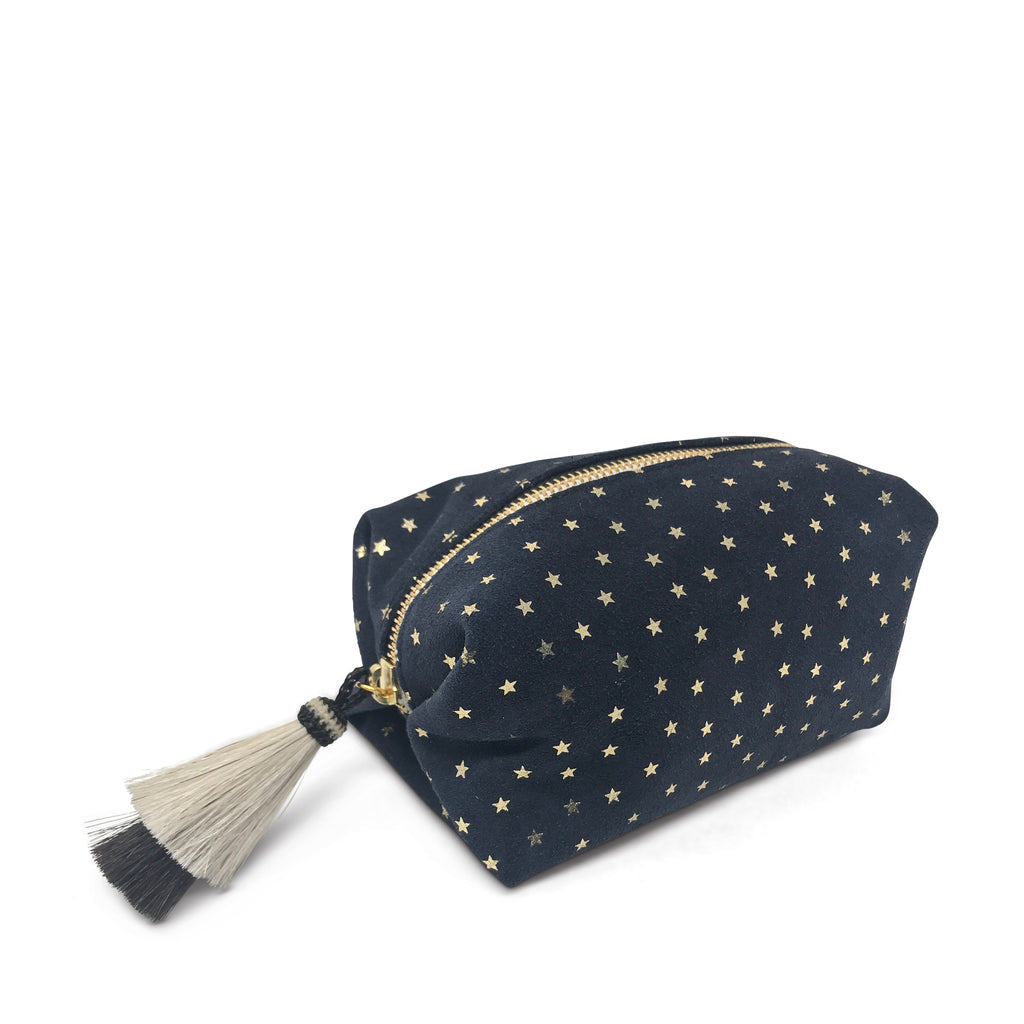 Navy Suede Gold Foil Stars Cosmetic Case