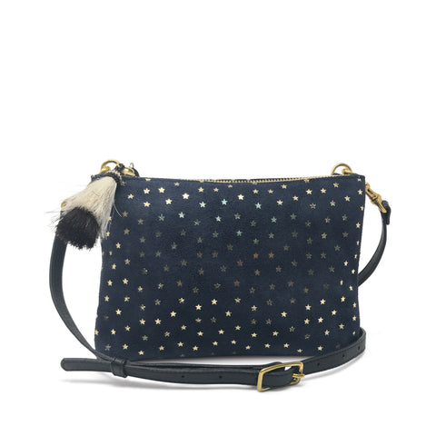 Gold Star Black Suede Nottingham Crossbody