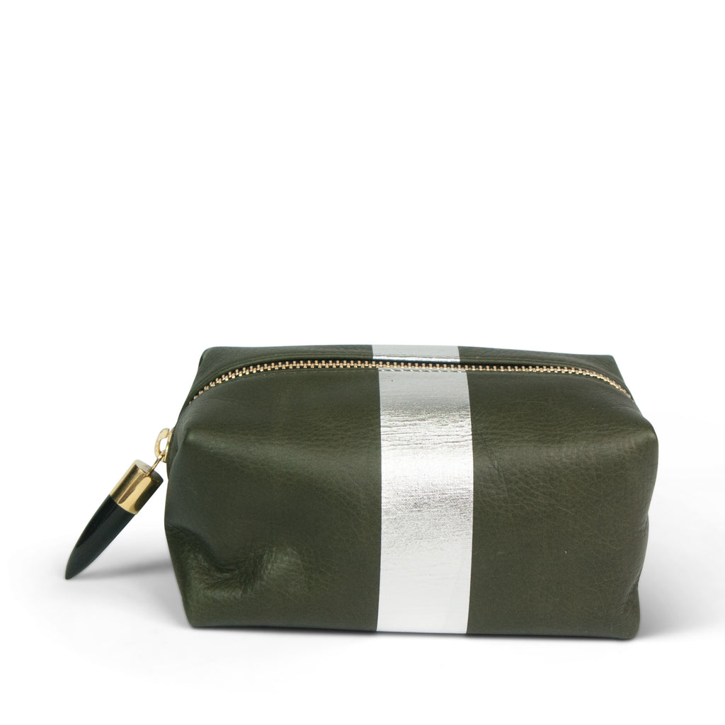 Olive and Silver Cosmetic Case
