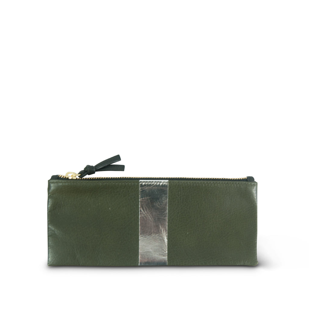 Olive and Silver Skinny Pouch