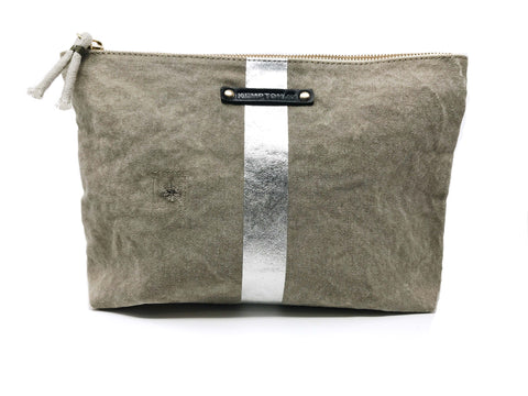 Taupe and Silver Star Canvas Pouch