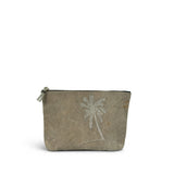 Postal Embroidered Palm Tree Medium Canvas Clutch