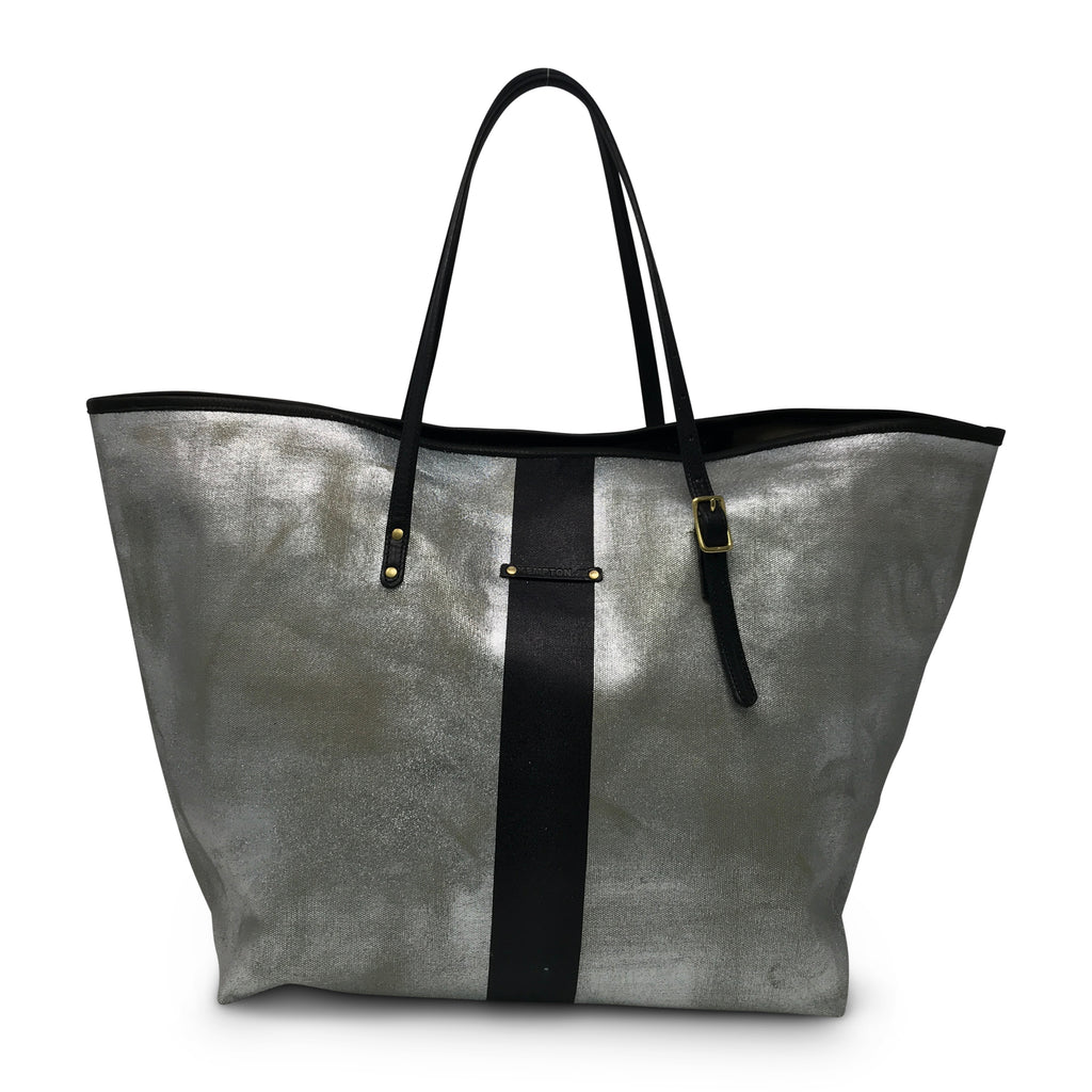 Metallic Canvas Black Striped Urban Beach Tote - Silver/Black