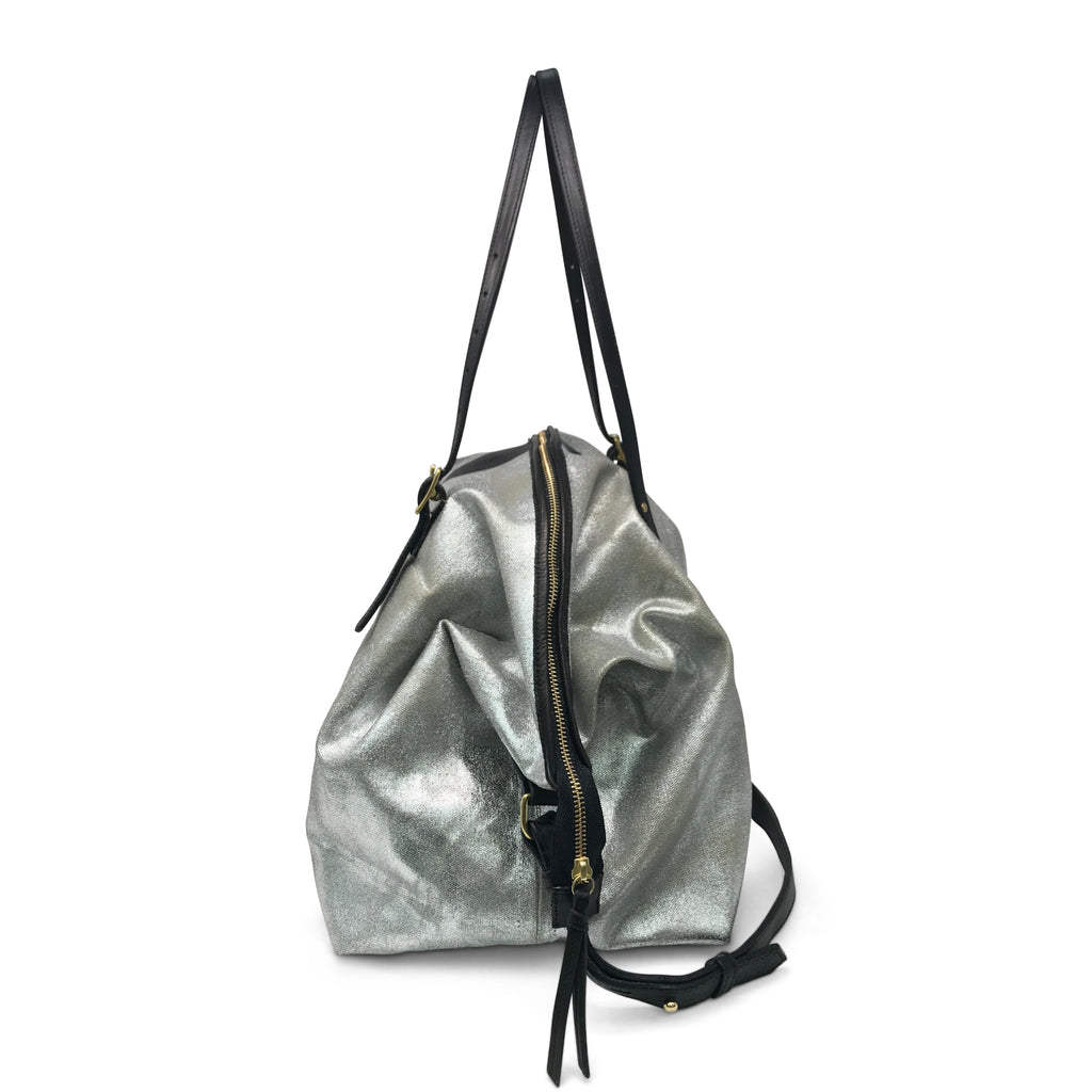 Metallic Canvas Black Star Crossbody Silver/Black