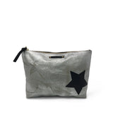 Metallic Canvas Black Star Pouch Silver/Black