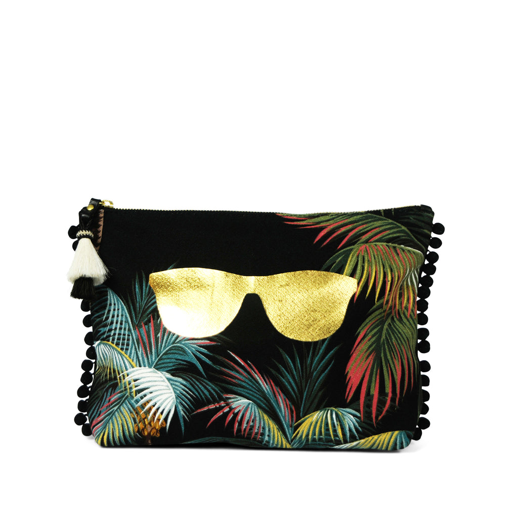 "The ""Shadey"" Tropics Medium Canvas and Leather Clutch"