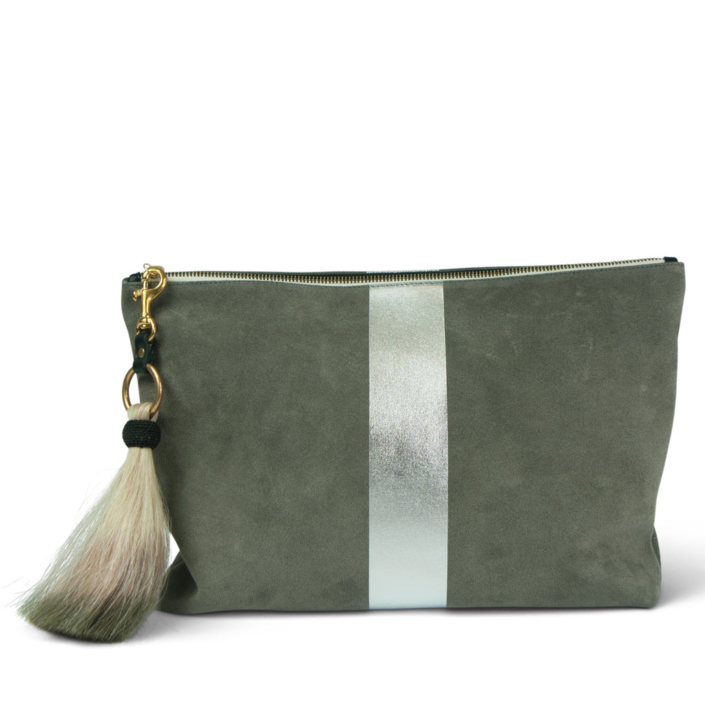 Storm Silver Suede Clutch