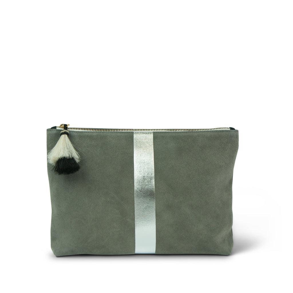 Storm Silver Suede Medium Pouch