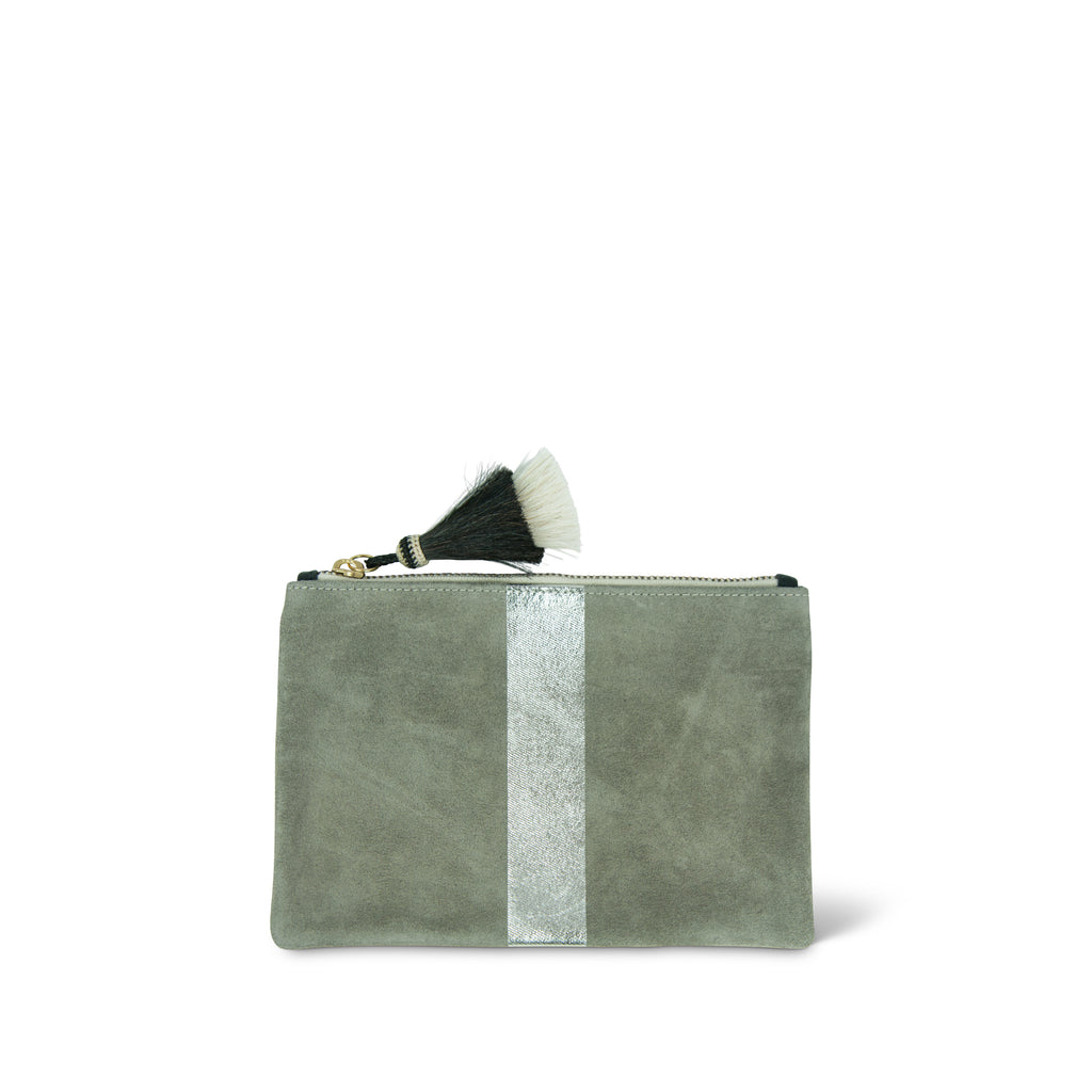 Storm Silver Suede Small Pouch
