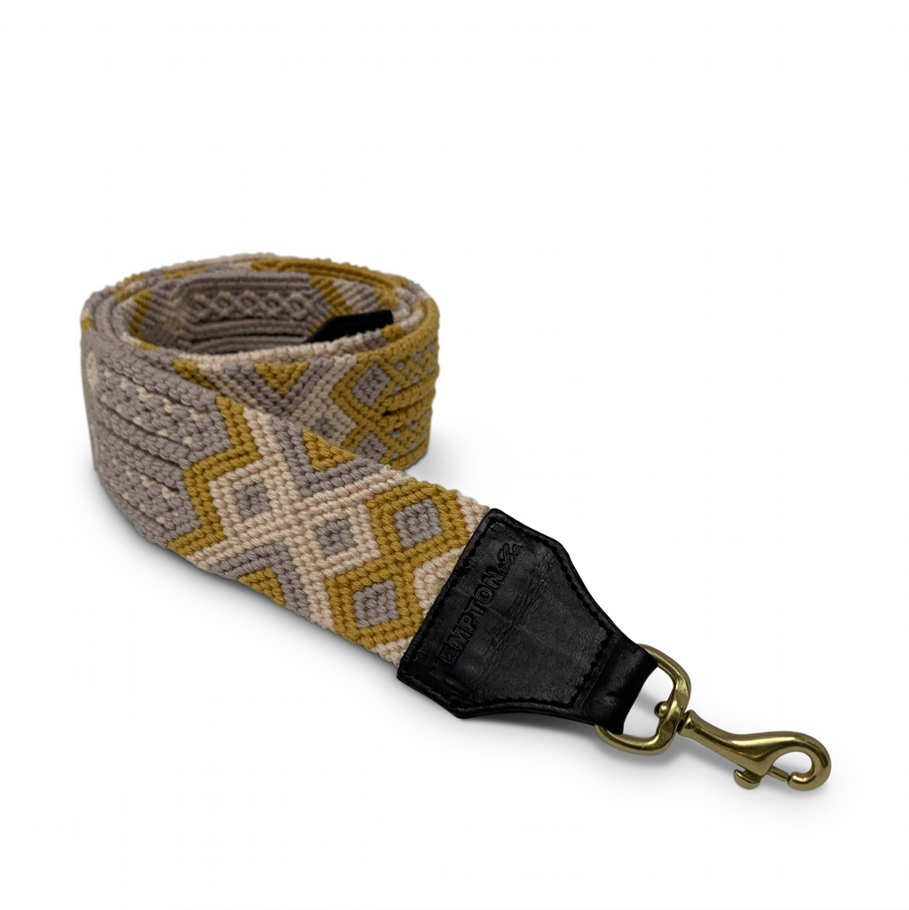 Mustard and Grey Bag Strap