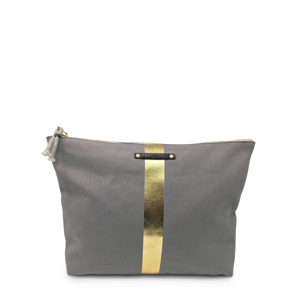 Smoke/Gold Stripe Canvas Beach Pouch