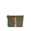 Washed Olive and Gold Striped Pouch