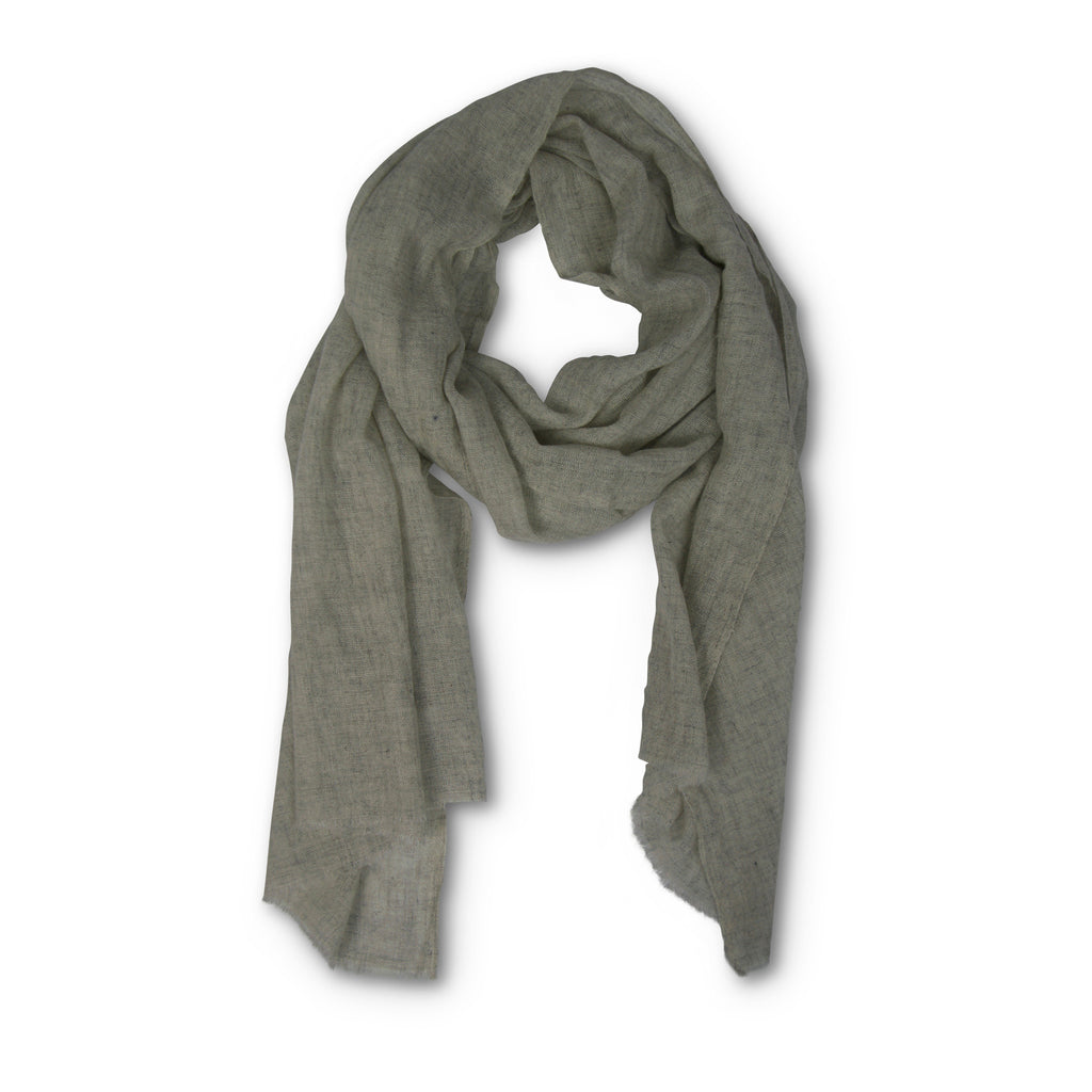WOOL/CASHMERE FEATHERWEIGHT SCARF - Heather Grey