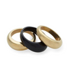 Fanned Stacked Ring - Brass & Black