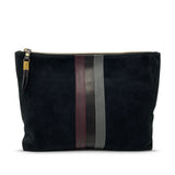 Black Suede Tri Stripe Medium Pouch