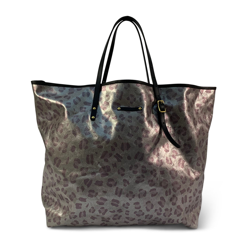 Metallic Leopard Canvas Oversized Tote