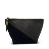 Black Petite Lizard Black Suede Makeup Bag
