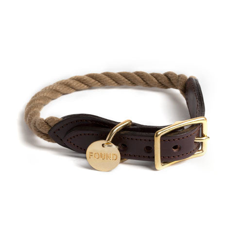 Rope Dog & Cat Collar designed by FOUND MY ANIMAL - Natural
