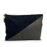 Black Petite Lizard Black Suede Medium Pouch