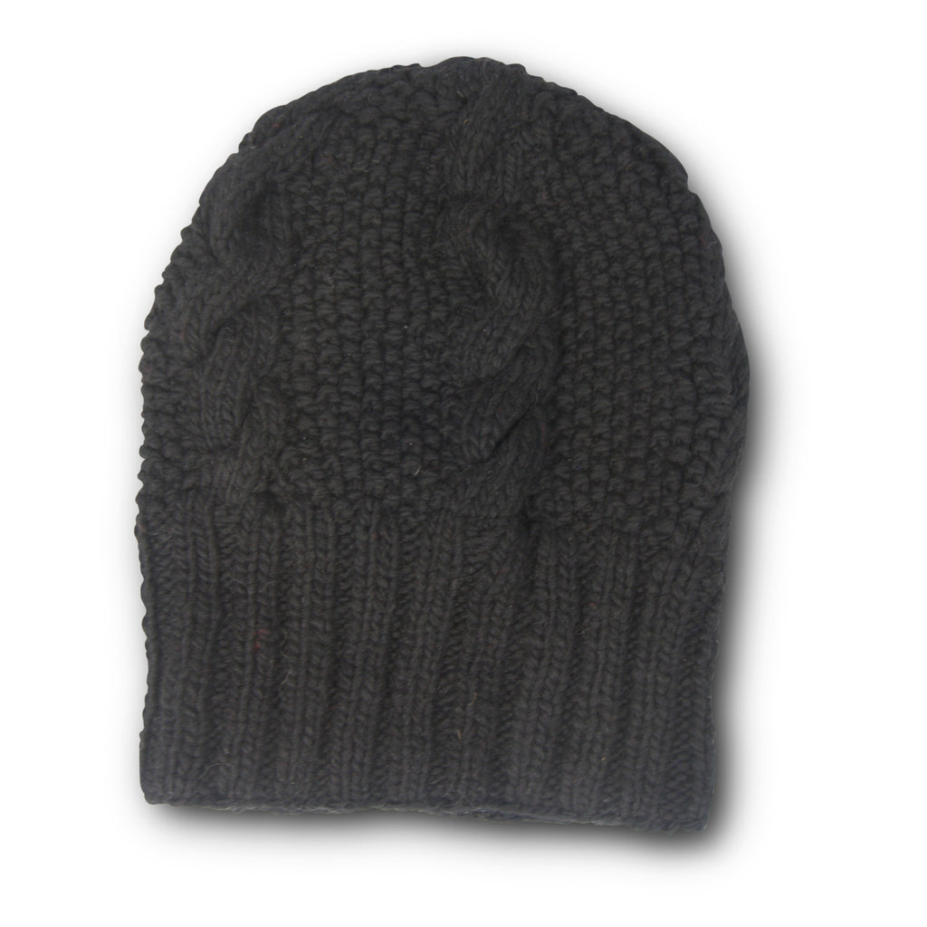 Oversized Merino Cable Slouchy Beanie - Black
