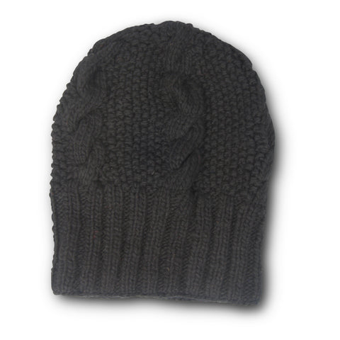 Fur Bobble Beanie Wool Hat - Navy