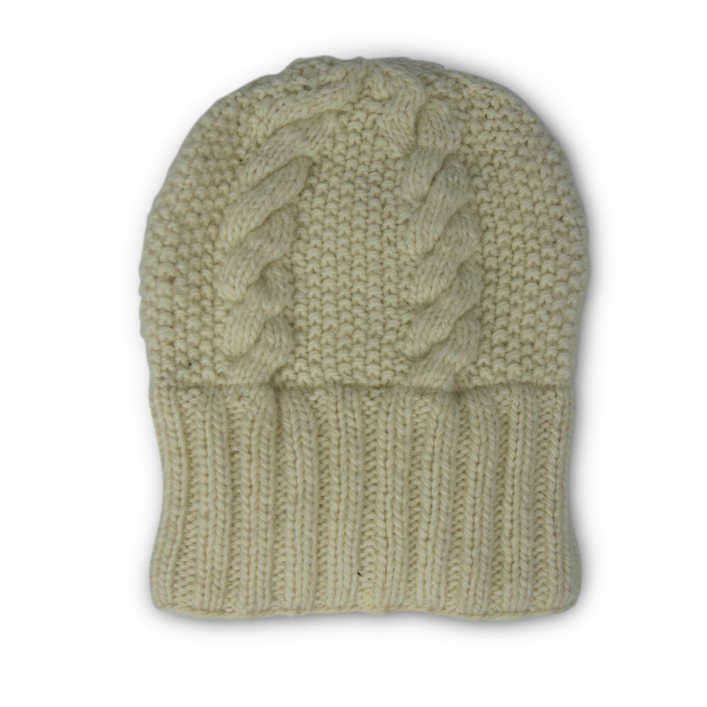 Oversized Merino Cable Slouchy Beanie - Natural