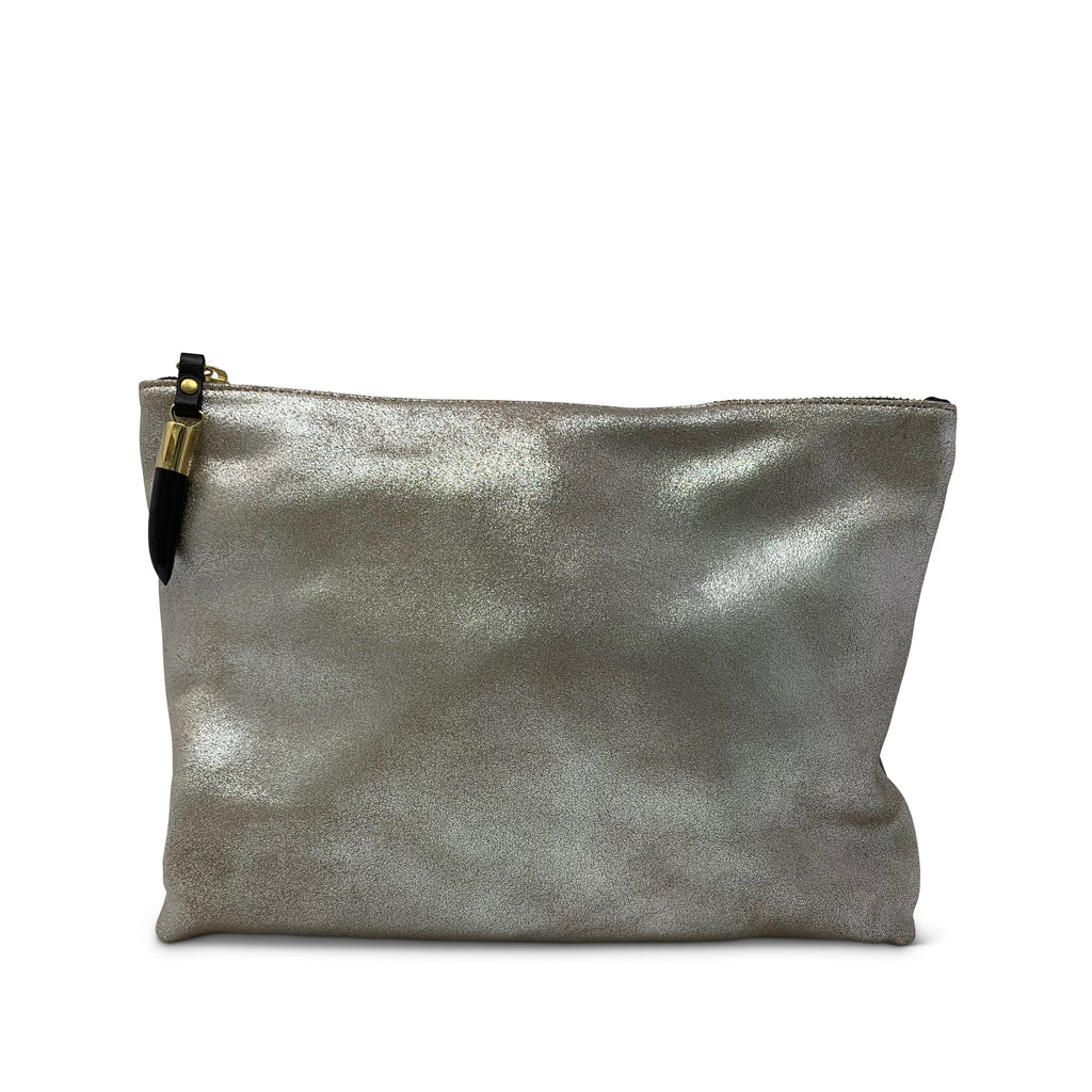 Silver Distressed Medium Pouch
