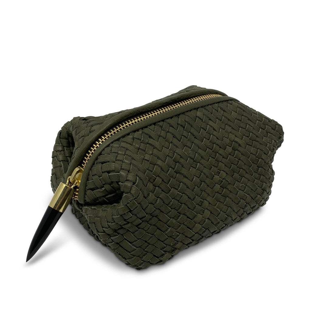 Olive Woven Cosmetic Case